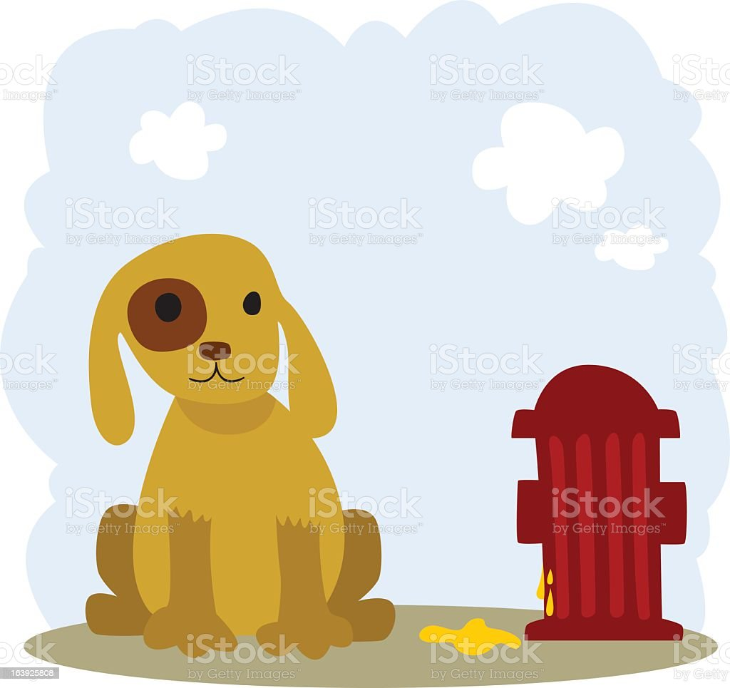 Dog with Hydrant vector art illustration