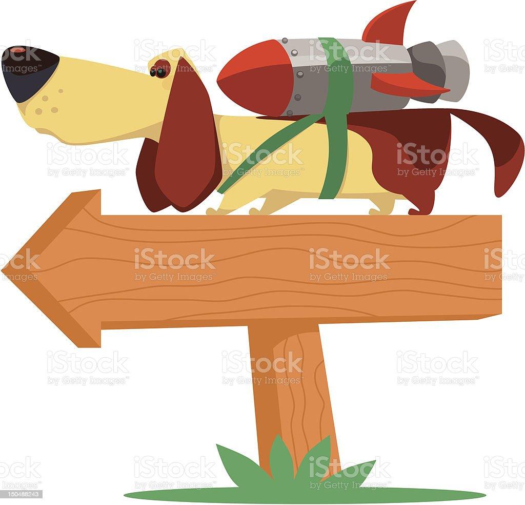 dog with jet pack vector art illustration