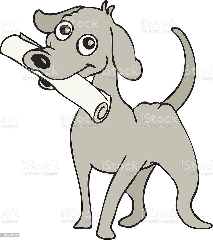 Dog with newspaper royalty-free stock vector art