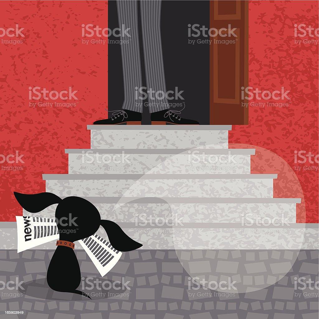 Dog with Newspaper. vector art illustration
