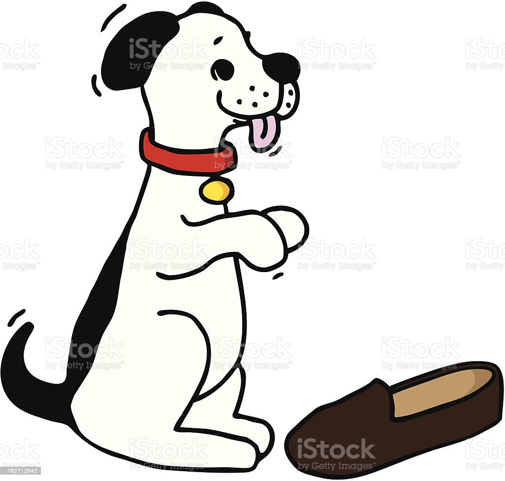 Dog With Slipper royalty-free stock vector art