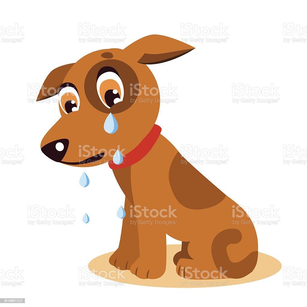 Dog With Tears. Crying Dog Emoji. Crying Dog Face. vector art illustration