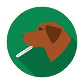 Dog with thermometer icon in flat style isolated on white