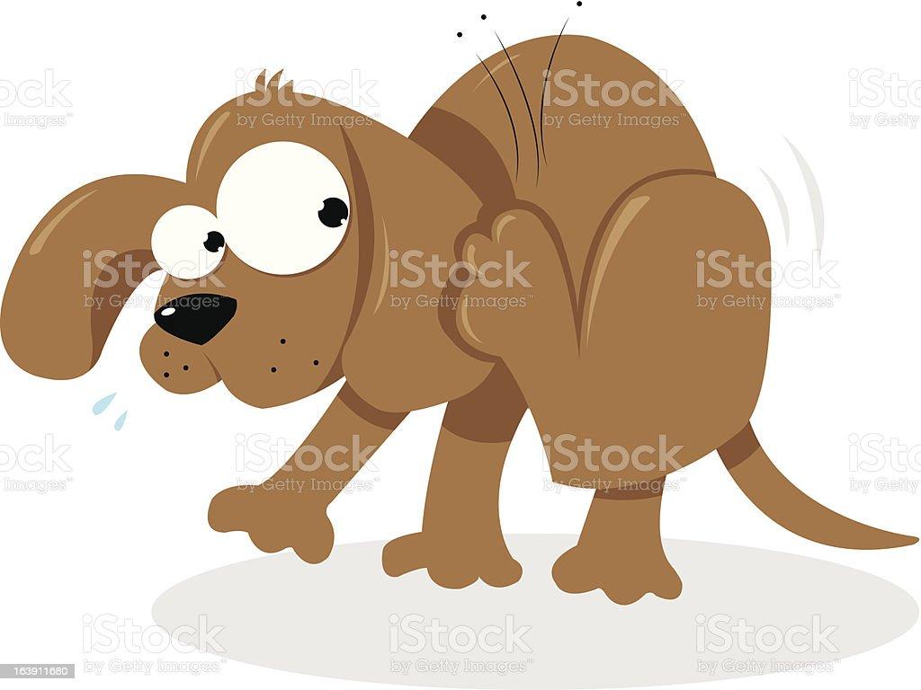 Doggie and Fleas vector art illustration