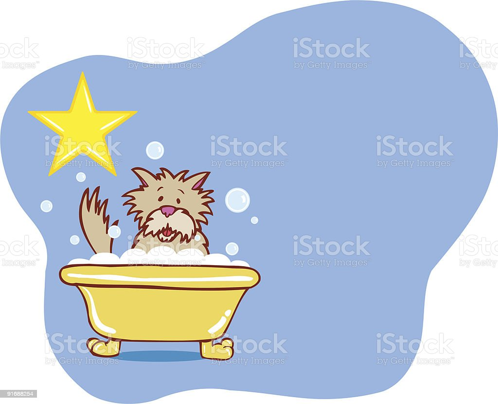 Doggie Terrier Bath Star royalty-free stock vector art
