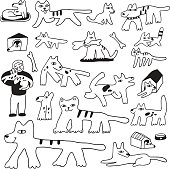 dogs and cats doodles