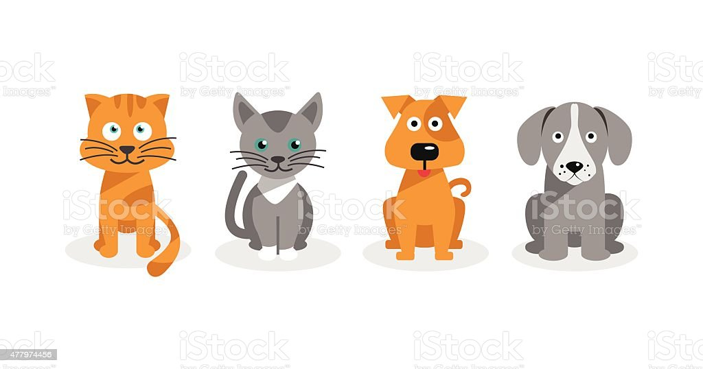 Dogs and cats vector art illustration