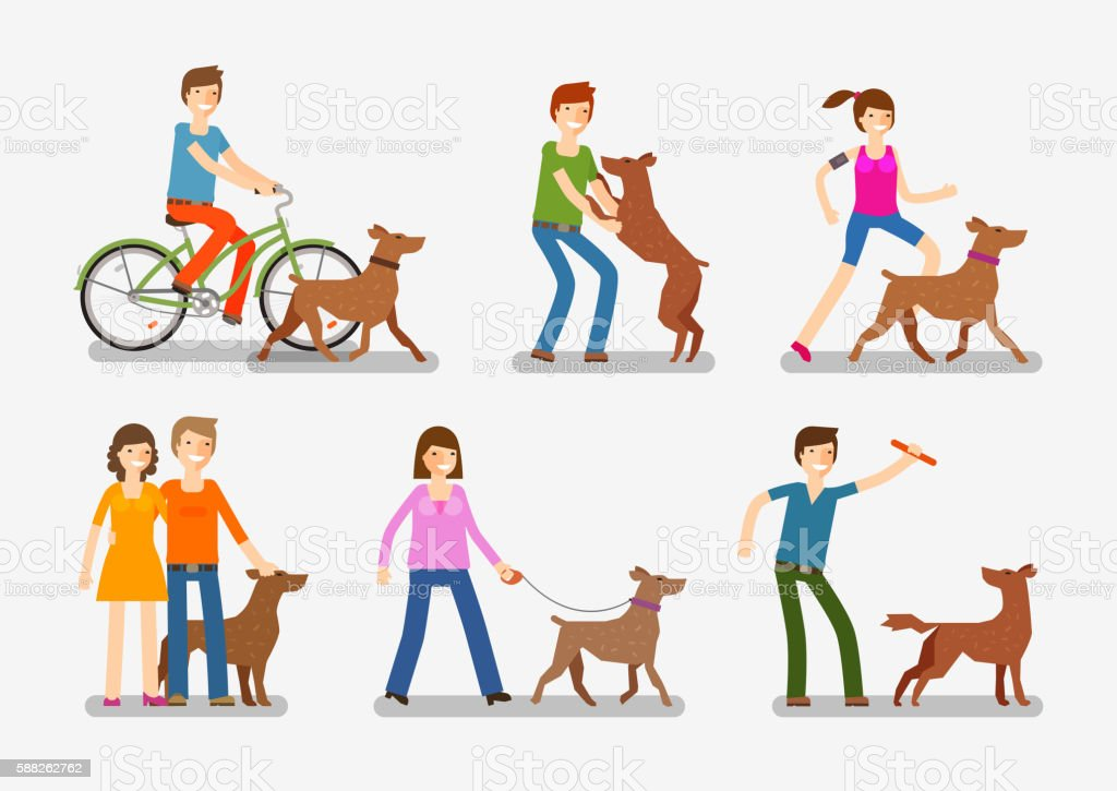 Dogs and people icons set. Pets, animals vector illustration vector art illustration