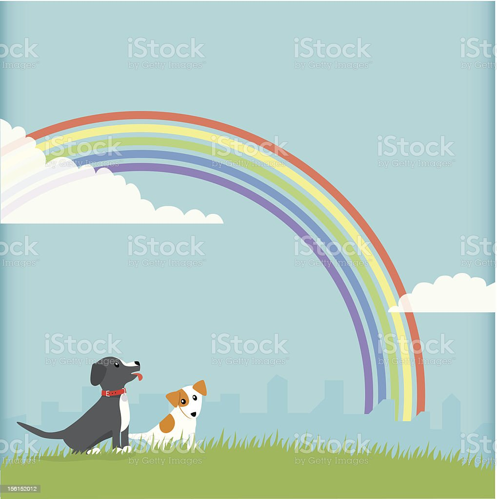Dogs and Rainbow royalty-free stock vector art