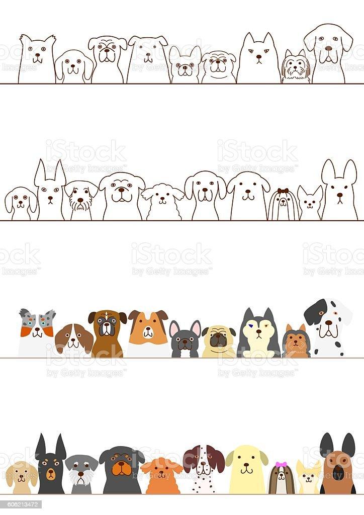 dogs border set vector art illustration