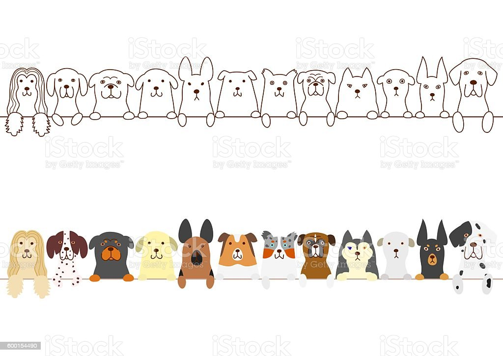 dogs border vector art illustration