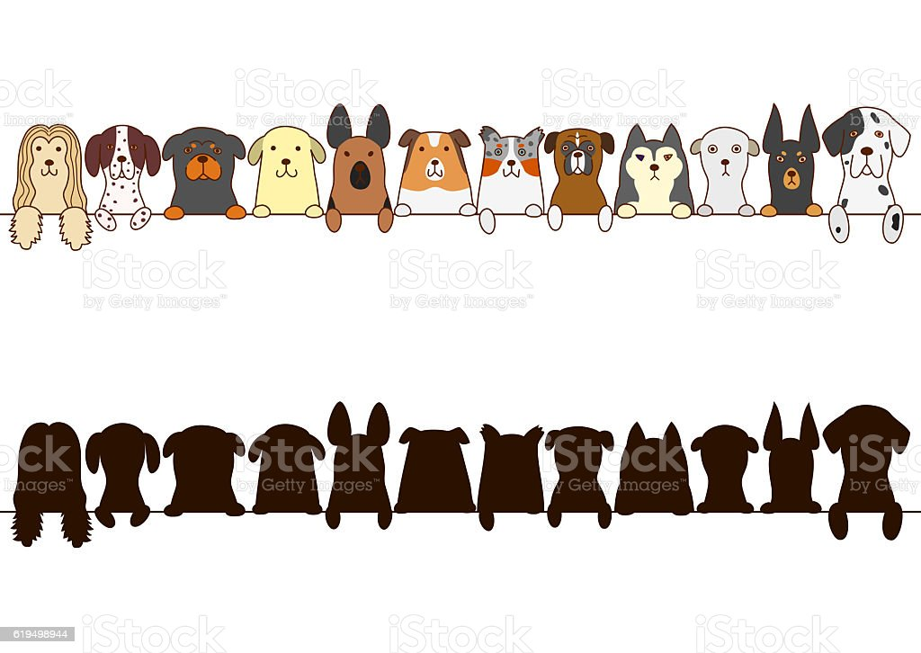 dogs border with silhouette vector art illustration