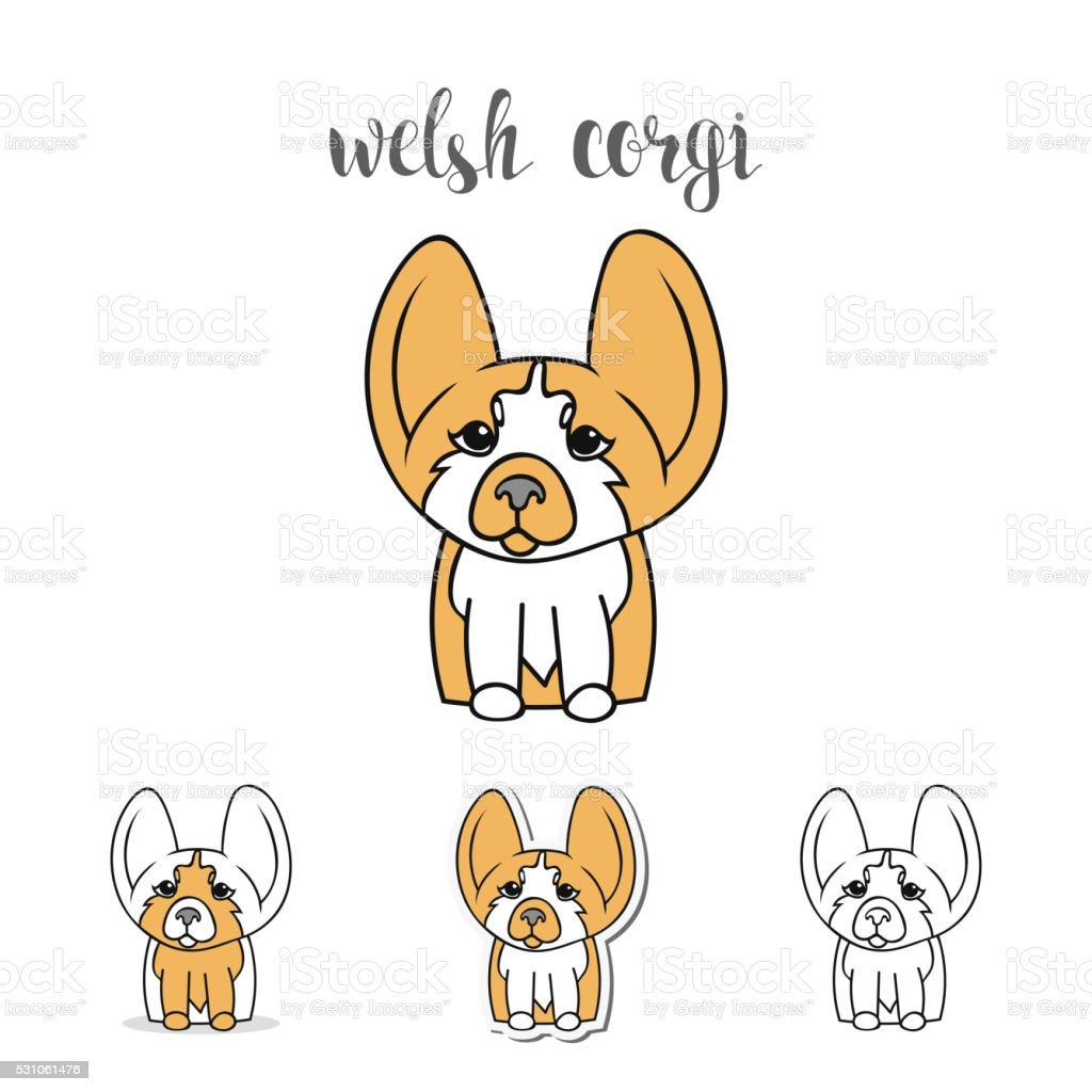 Dogs characters. Doodle dog. Funny character vector art illustration