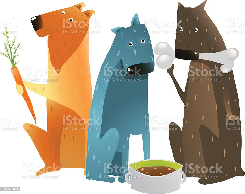 Dogs Eating Different Types of Food vector art illustration