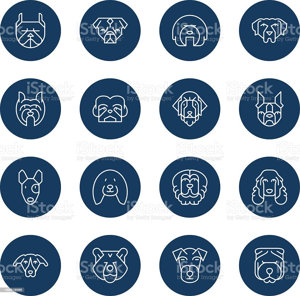 Dogs Head Icons | set 2 - Light - Circle vector art illustration