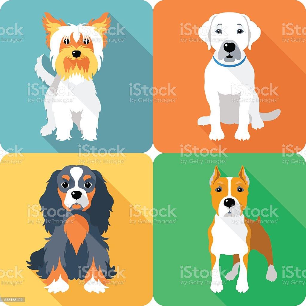 SET dogs icon flat design vector art illustration