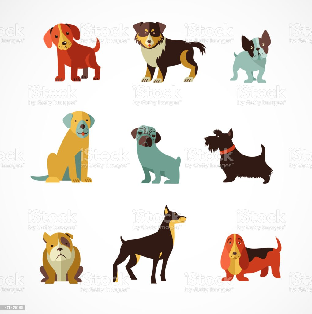 Dogs icons and illustrations vector art illustration