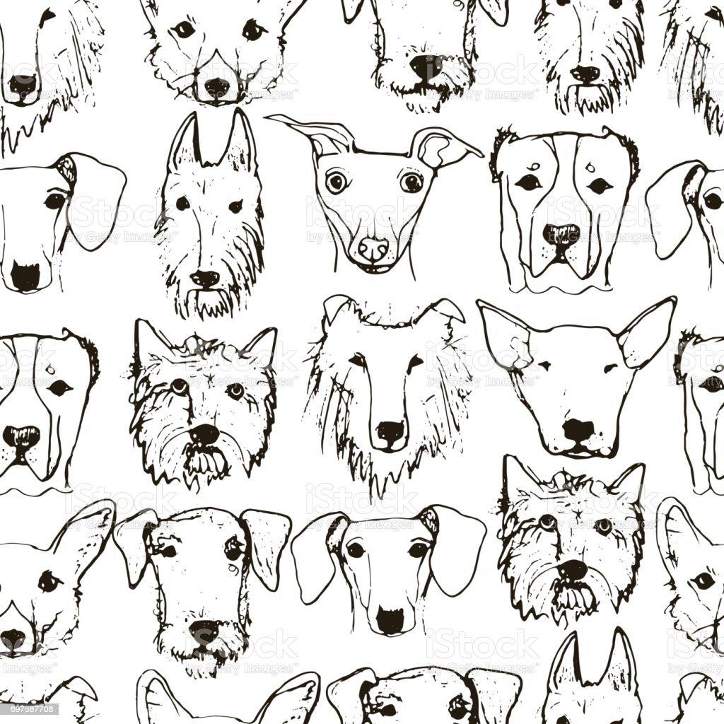 dogs pattern vector art illustration