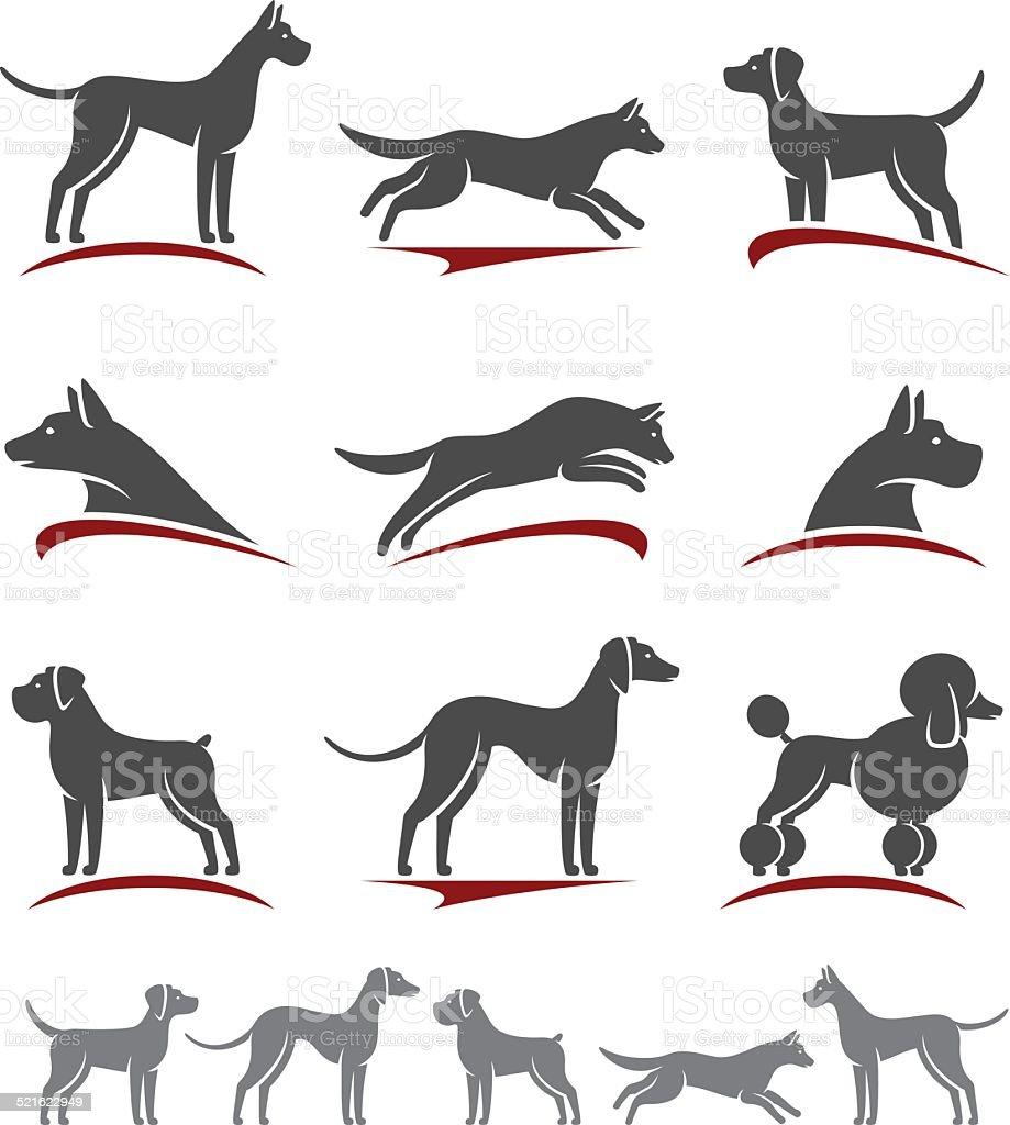 Dogs set. Vector vector art illustration