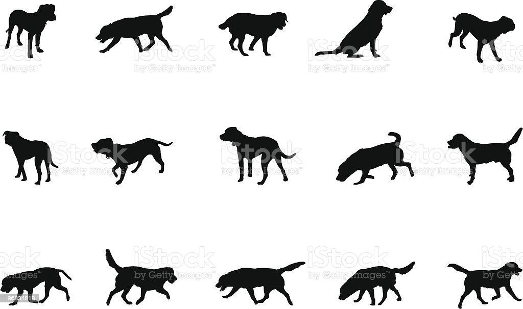 dogs silhouettes vector art illustration