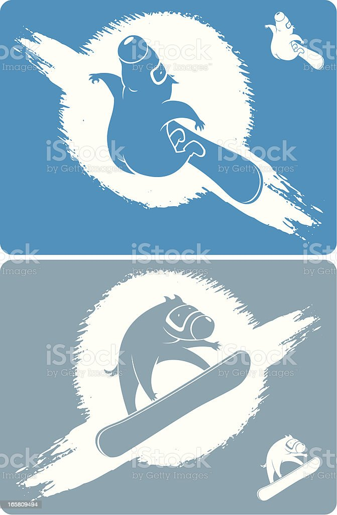 Dogs snowboarders royalty-free stock vector art