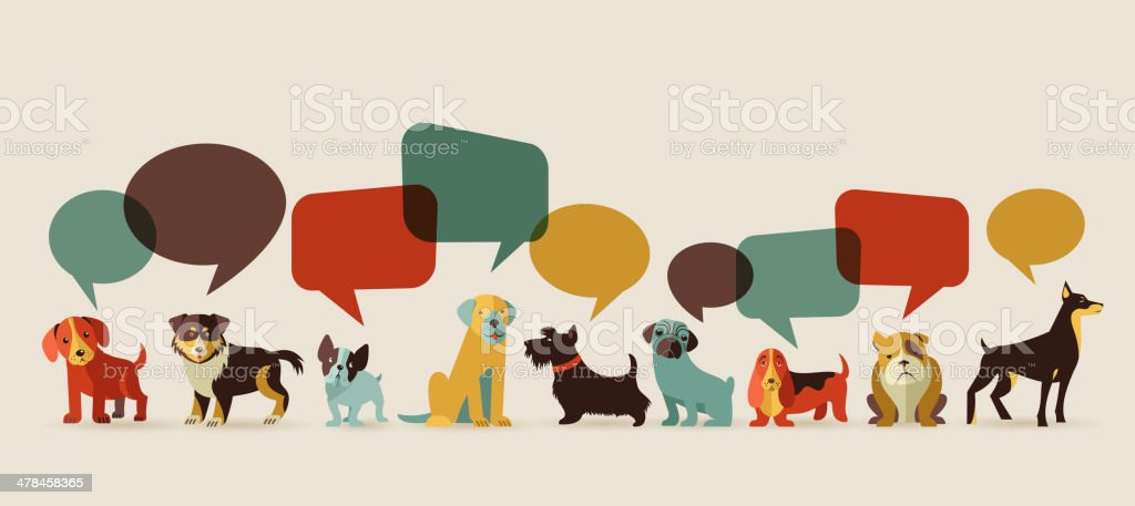 Dogs speaking - icons and illustrations vector art illustration