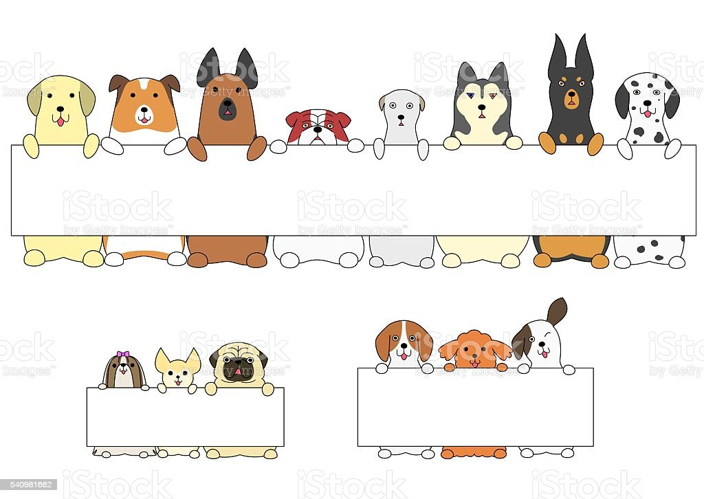 dogs standing with the card vector art illustration