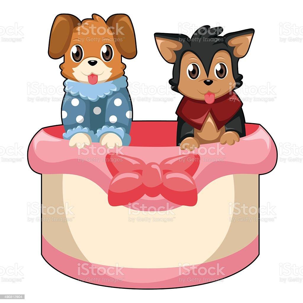 Perros con ropa en una cinta de canastilla illustracion libre de derechos libre de derechos
