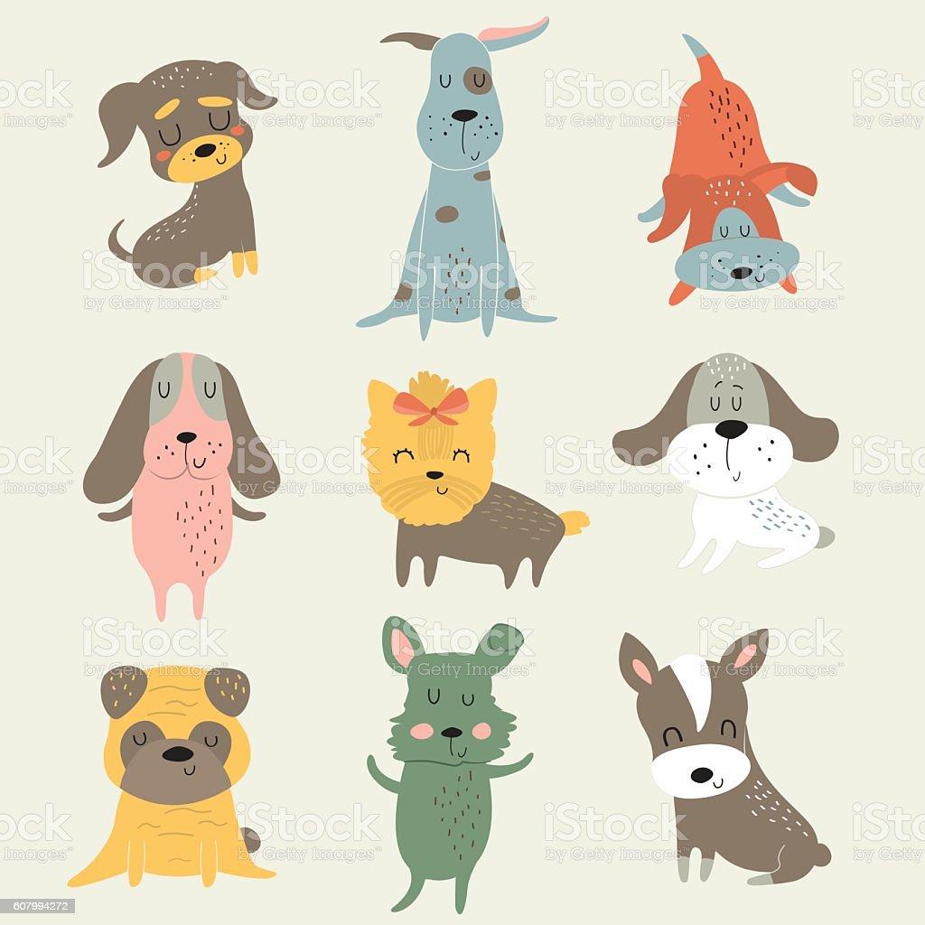 dogsetpopcolor vector art illustration
