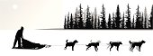 Dogsled Vector Silhouette