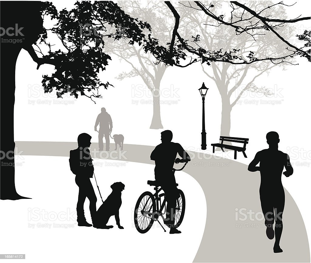 Dogs'n Owners Vector Silhouette royalty-free stock vector art