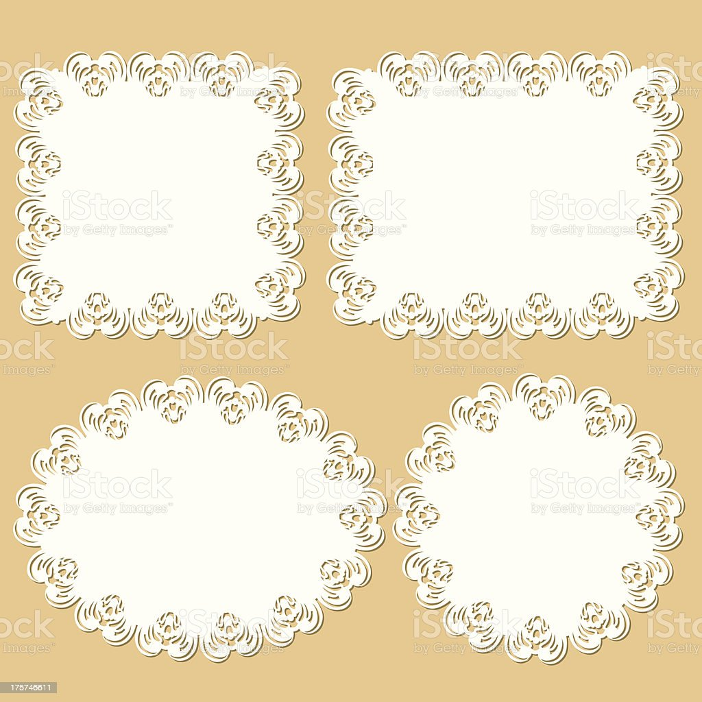 Doily And Frame Set (beige) royalty-free stock vector art