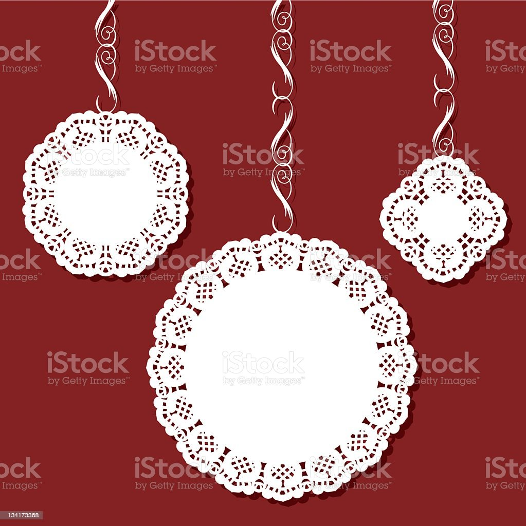 Doily - christmas ornaments stock photo