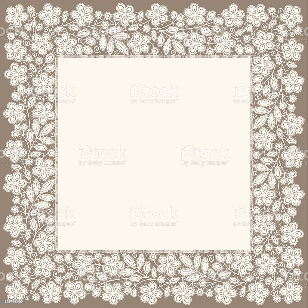 Doily. White Lace. Floral Pattern. Square Frame. royalty-free stock vector art