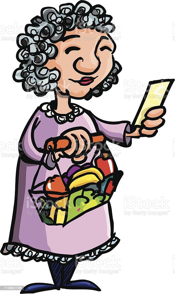 OAP doing her shopping vector art illustration