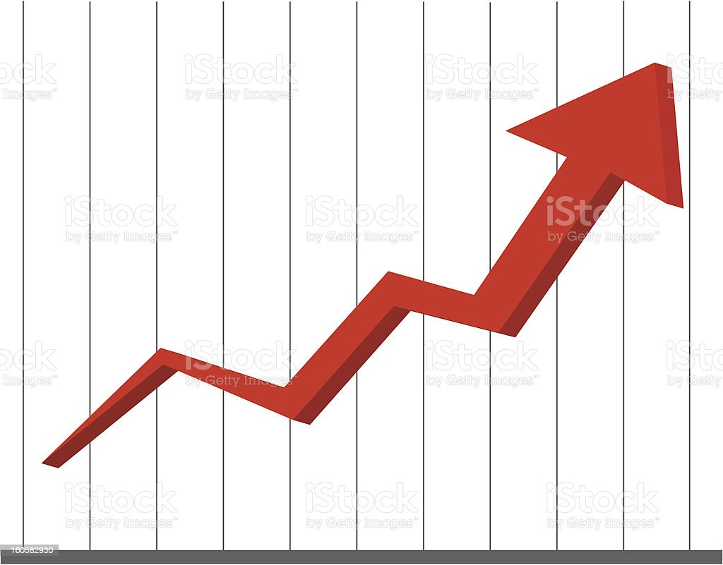 Doing well - line chart vector art illustration