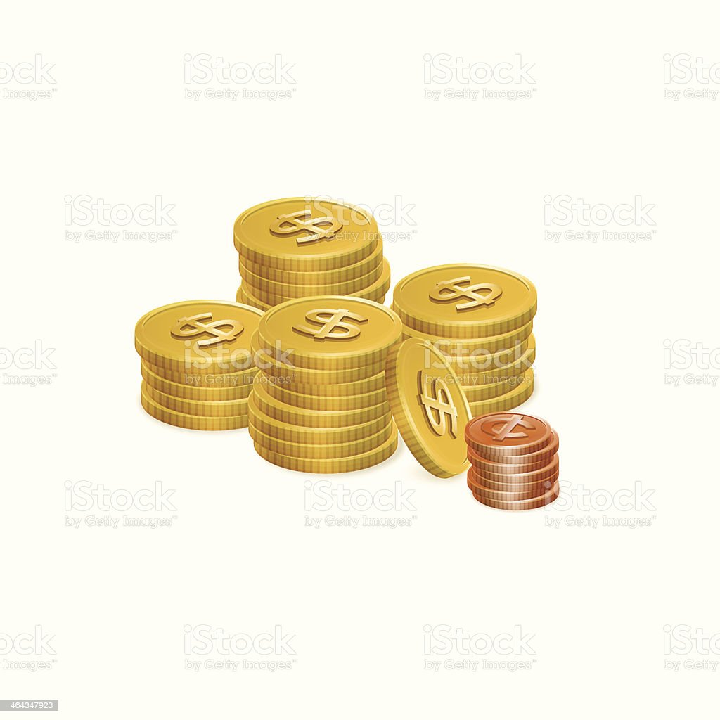 Dollar and Cent Coin Stack Vector Icons vector art illustration