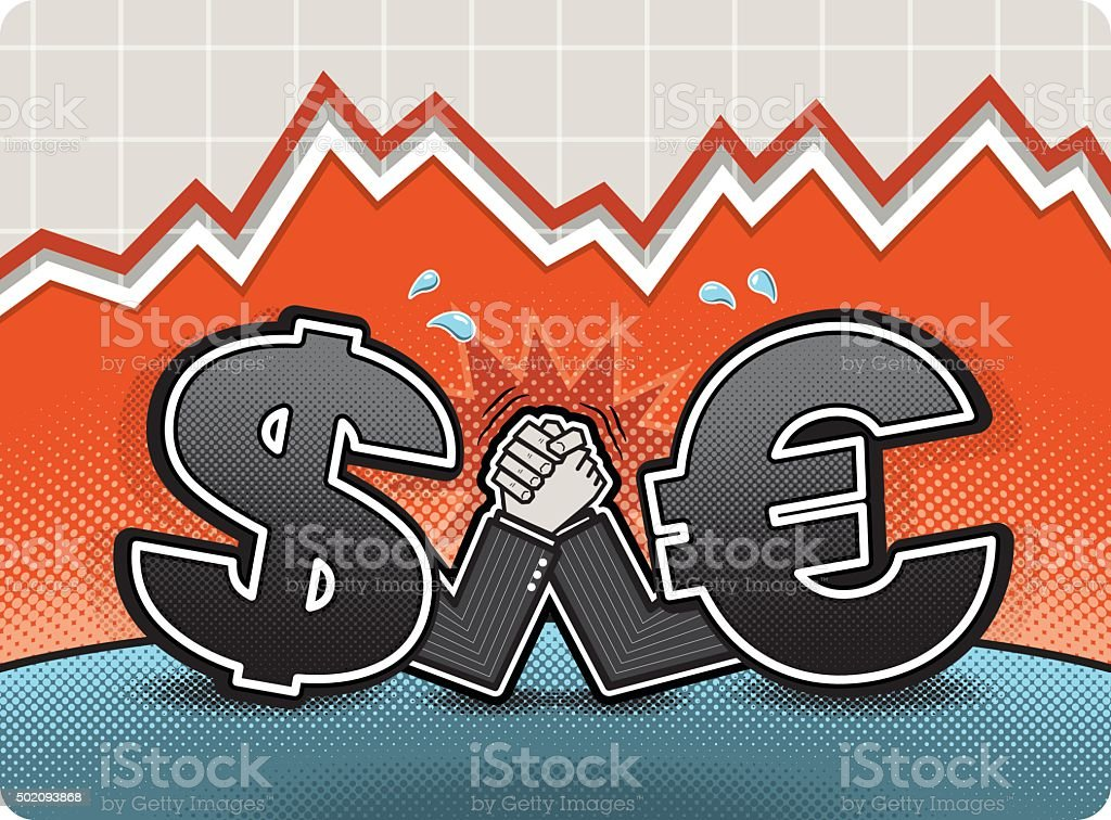 Dollar and Euro Compare Strength by Armwrestling vector art illustration