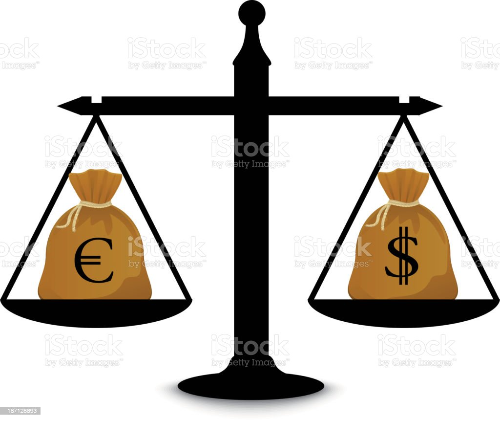 Dollar and euro on scales royalty-free stock vector art
