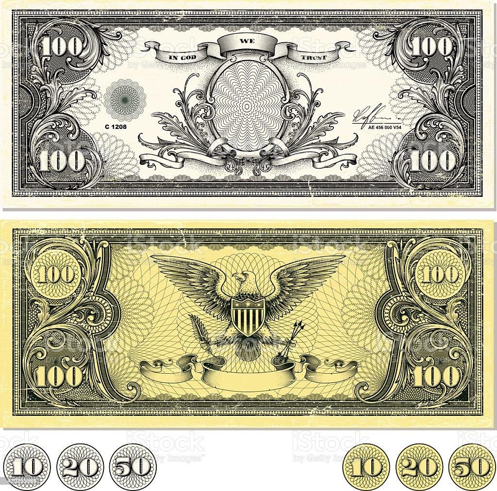 Dollar Bill Design vector art illustration