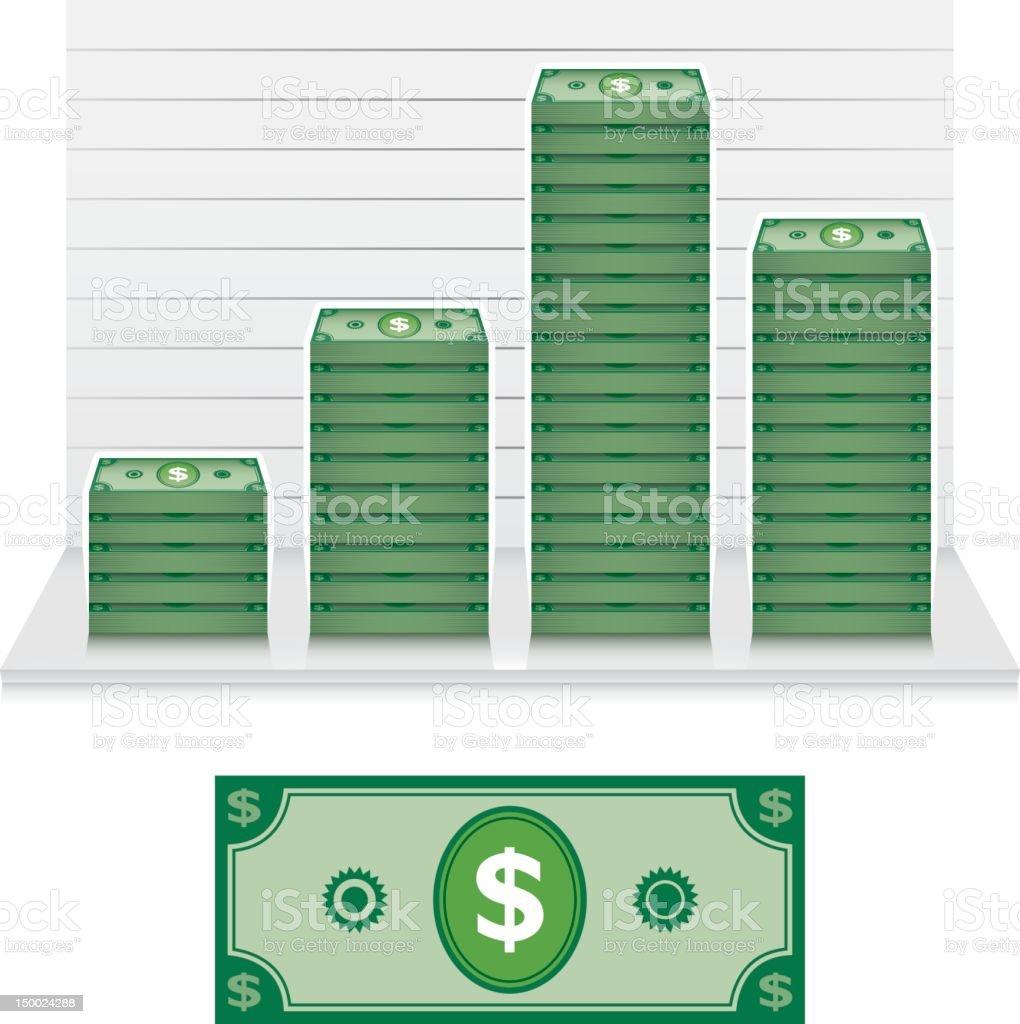 Dollar bill graph. vector art illustration