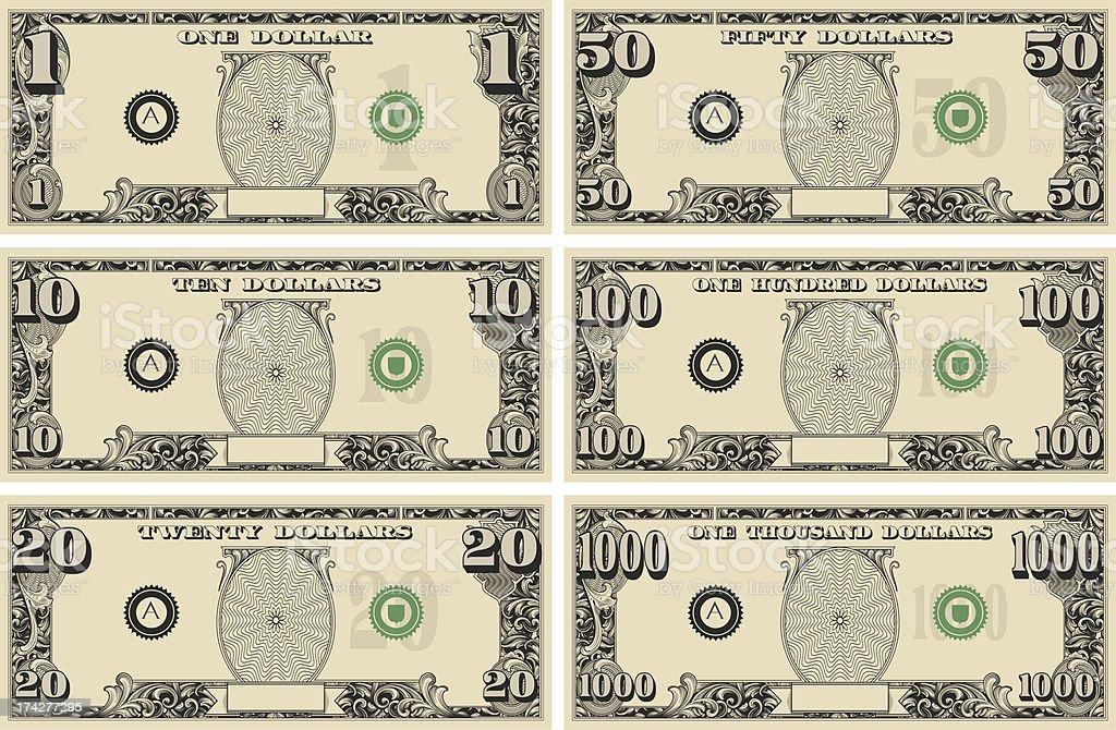 dollar bill Money Kit vector art illustration