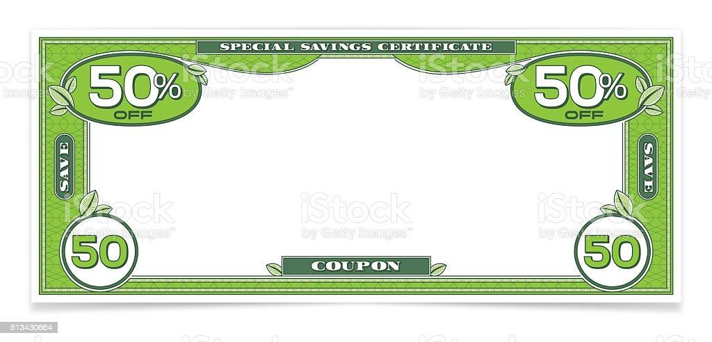 Dollar Bill Money Savings Coupon vector art illustration