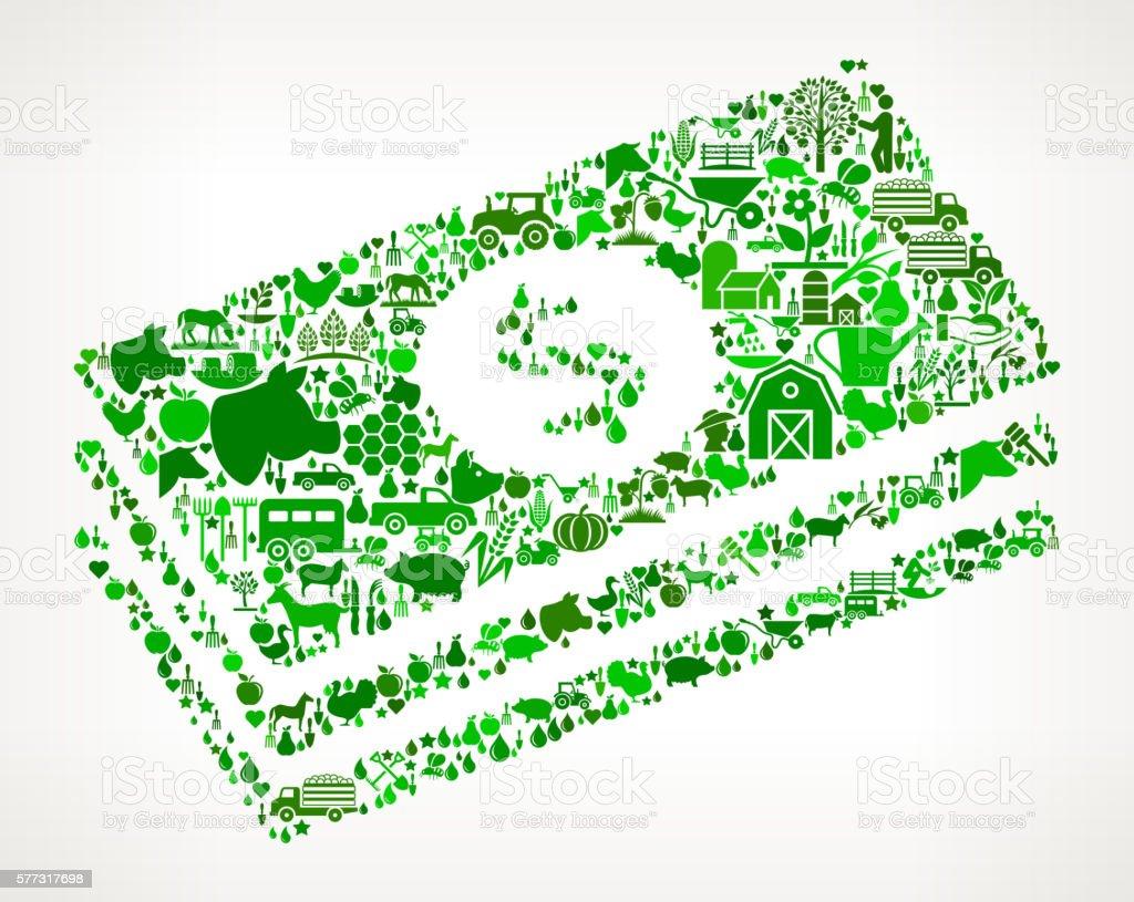 Dollar Bills Farming and Agriculture Green Icon Pattern vector art illustration