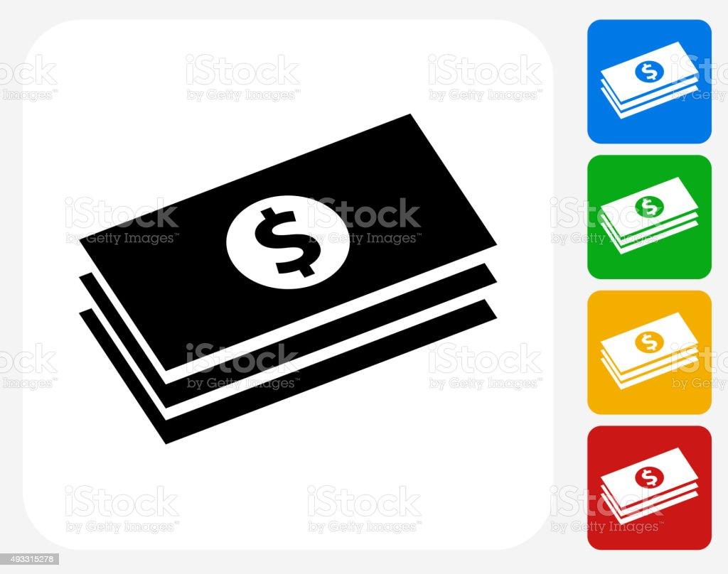 Dollar Bills Icon Flat Graphic Design vector art illustration