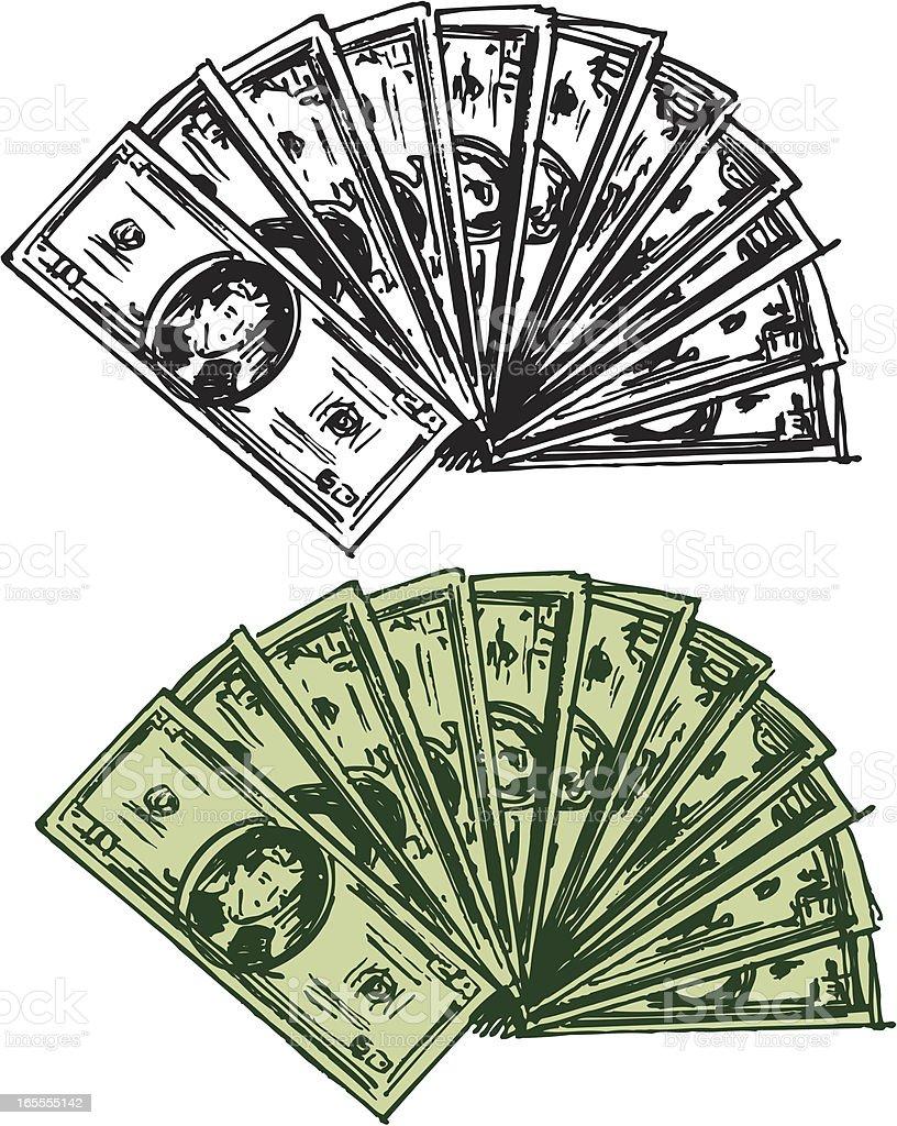 Dollar Bills - Money, Currency royalty-free stock vector art