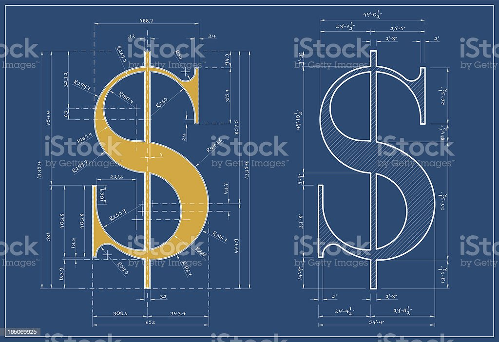 Dollar Blueprint royalty-free stock vector art