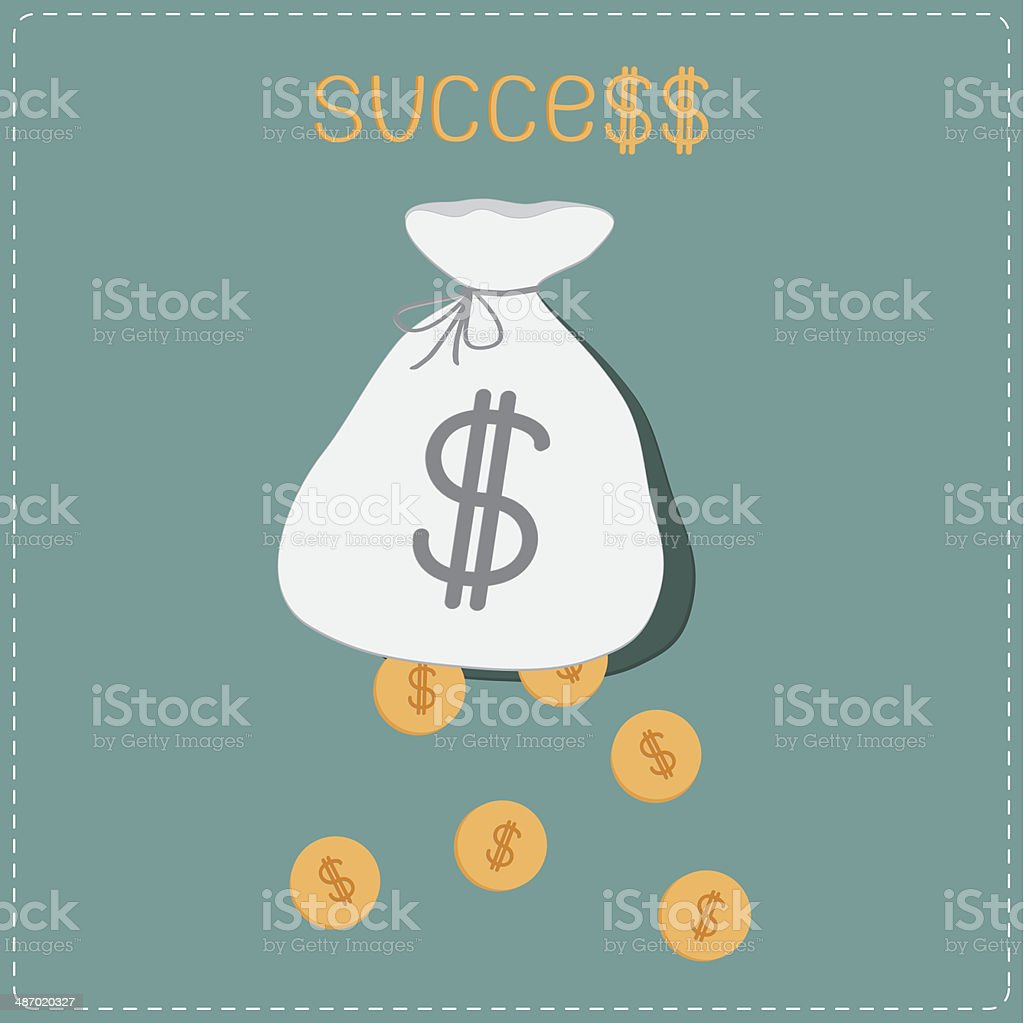 Dollar coins falling out of the bag. Success concept. royalty-free stock vector art