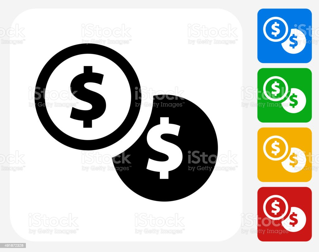 Dollar Coins Icon Flat Graphic Design vector art illustration