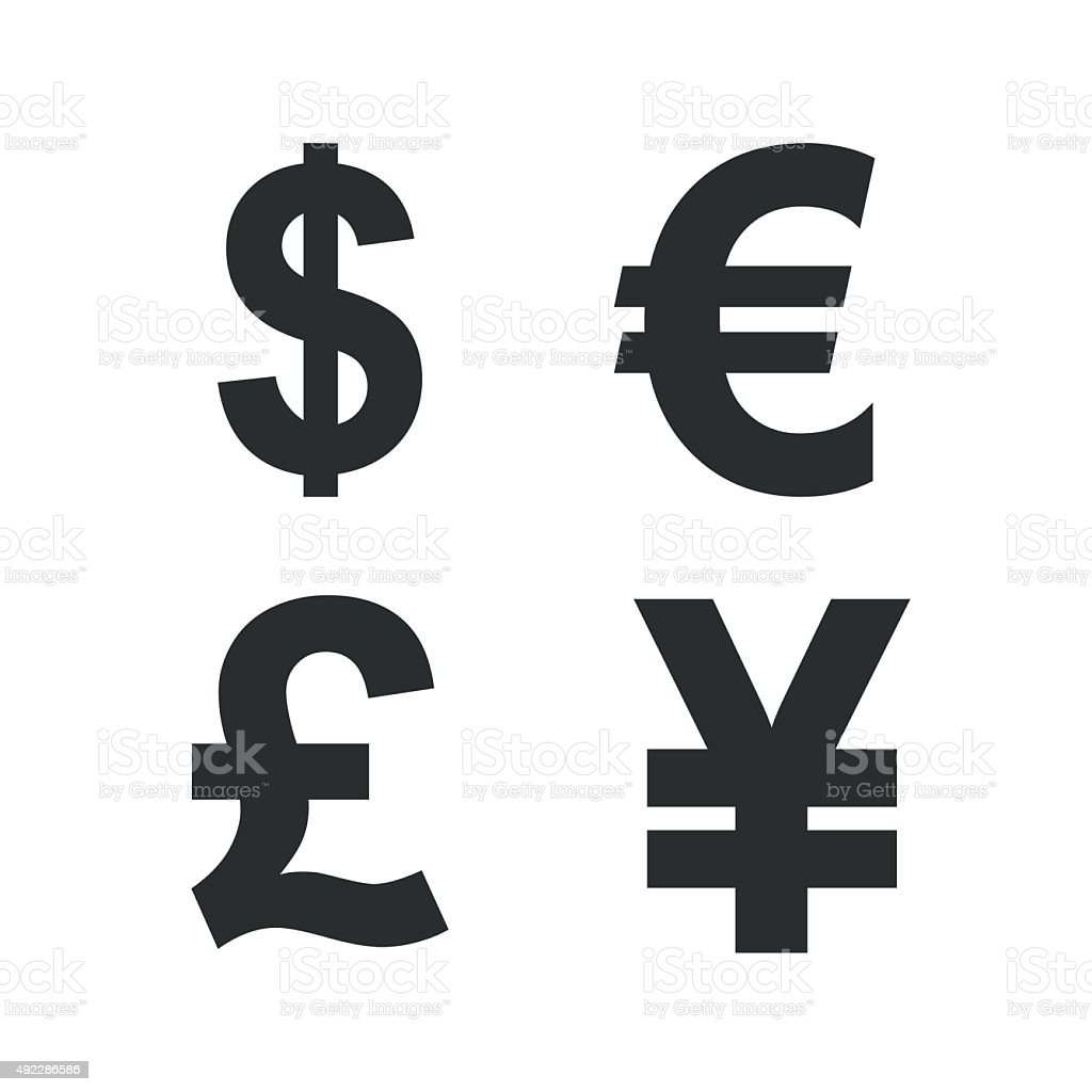 Dollar, Euro, Pound and Yen currency icons vector art illustration